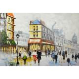Strada din Paris -pictura in ulei OP-29, Peisaje, Realism