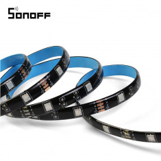 Banda inteligenta Wireless Light Strip LED RGB Sonoff L1, Lungime 5 m, Telecomanda inclusa, Control vocal, Control de pe telefonul mobil