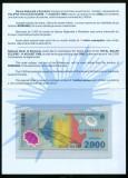 RARITATE ! 2000 LEI 1999 ECLIPSA SERIA 001A1004614 PESTE MILION ! IN FOLDER UNC