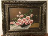 Tablou vechi,ulei pe panza,vaza cu flori