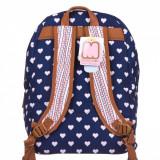 Ghiozdan scoala, model Marshmallow cu inimi, 30x15x41 cm, albastru