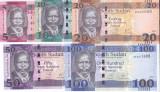 Bancnota Sudanul de Sud 5, 10, 20, 50,100 Pounds 2015-17 - P11-15 UNC (set x5)