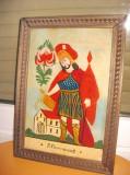 7010-SF. Florianus-Icoana vintage pictata sticla stare buna rama lemn.