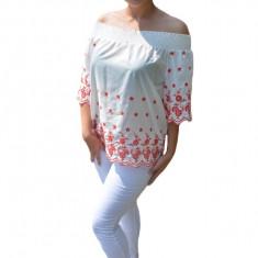 Bluza de vara lejera tip ie Andelia, model brodat cu flori rosii, nuanta alb