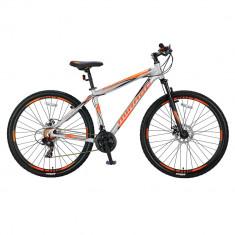 """Bicicleta MTB Umit Mirage Cadru 18"""", 21 Viteze , Culoare Gri/Portocaliu , Roata PB Cod:26670180001, Discuri"""