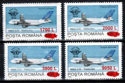 """Romania 2000, LP 1515, 50 de ani OACI 1994 - supratipar """"zeppelin"""", seria, MNH! foto"""