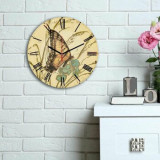 Ceas decorativ de perete din lemn Home Art, 238HMA6163, 30 cm, Multicolor