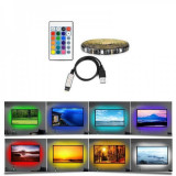 Kit TV Banda 3m 90 LED RGB 5050 IP65 Alimentare la USB, cu Telecomanda