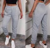 Pantaloni dama lungi de tip jogger din bumbac gri cu elastic si buzunare