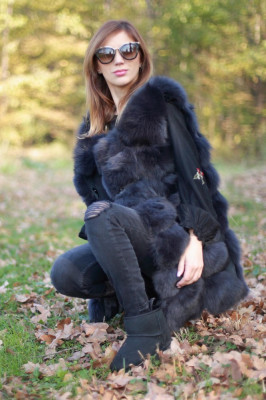 Vesta din blana naturala de vulpe, culoare gri, marime M foto