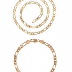 Set bijuterii Lant+Bratara,dublu placat Aur 18K,grosime 0,5cm,28grame