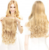 Extensii Par Blond deschis, Ondulat, Par sintetic, Lungime 60 cm