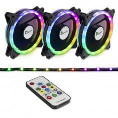 Ventilatoare Inter-Tech Argus RS-04 RGB, 3 Fan Pack, 120 mm, telecomanda +...