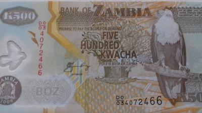 BANCNOTA 500 KWACHA 2009-ZAMBIA/POLYMER foto
