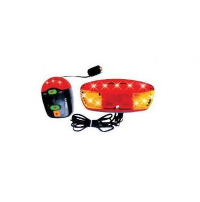 Semnalizare pentru bicicleta, 11 LED-uri, 8 melodii, rosu/portocaliu foto