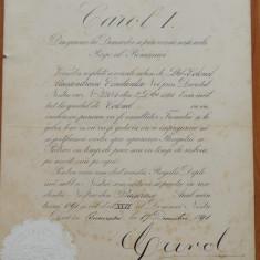 Diploma regala , semnata olograf de Carol I , 1891