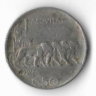 Moneda 50 centesimi 1920 - Italia, muchie zimtata
