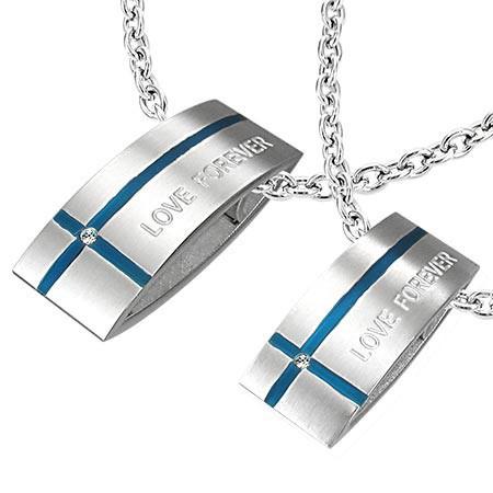 Pandantiv din oțel LOVE FOREVER pentru cuplu - dreptunghi, cruce
