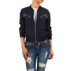 Jacheta moderna, de culoare bleumarin, cu fermoare metalice