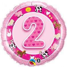 Balon roz 2 ani din folie Ferma Animalelor 43cm