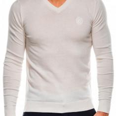 Bluza pentru barbati din bumbac alb casual slim fit E74