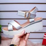 Sandale Iudasi argintii cu platforma -rl