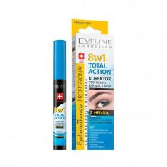 Corector sprancene cu hena Eveline Cosmetics 8 in 1 Total Action