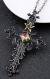 Pandantiv cruce mare gotică negru pentagrama simboluri aripi, dark magic + lant