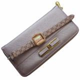 Cumpara ieftin Pachet portofel elegant de dama - mov deschis + ceas dreptunghiular elegant de dama