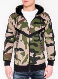Cumpara ieftin Hanorac pentru barbati, camuflaj, verde, stil militar, army, fermoar drept, cu gluga, buzunare laterale, siret, sport - B775