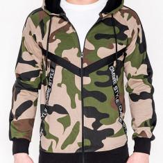 Hanorac pentru barbati, camuflaj, verde, stil militar, army, fermoar drept, cu gluga, buzunare laterale, siret, sport - B775