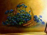 """Pictura in ulei pe carton """"Cos cu Albastrele"""",nesemnat"""