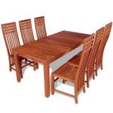 Set masă și scaune 7 piese din tec masiv