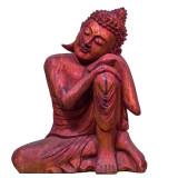 Statuetă Resting Buddha Red Wood, L