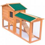 Cușcă de exterior pentru iepuri cușcă adăpost animale mici, lemn, vidaXL