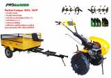 Pachet motocultor Campo 1803, benzina, EURO5, 18CP, 2+1 trepte, remorca 600kg ulei motor si transmisie incluse, Progarden