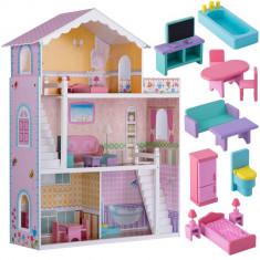 Jucarie Casuta de Papusi mare din Lemn, pentru copii, cu 3 etaje, Terasa si Mobilier, 110cm, roz