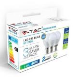 Bec LED E27 6W alb rece V-TAC, G45 6000K 3buc/set