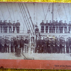 White Star Line Steamer Teutonic Crew Steam Boat Stereoview Photo