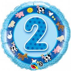 Balon bleu 2 ani din folie Ferma Animalelor 43cm