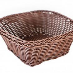 Cos servire paine, fructe, legume patrat rezistent la apa, 17 x 17 x 7 cm culoare cafea, 012080