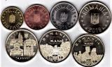 Lot 7 monede din fisic 2019 1 ban+5+10+50 bani+Papa+Ferdinand+Maria