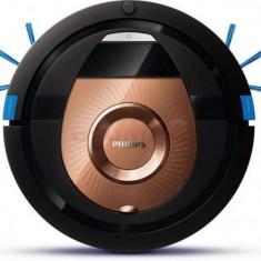 Robot de aspirare Philips SmartPro Compact FC8776/01, 0.3 l, 3 trepte, 4 moduri curatare, Profil subtire, Functie programare, Negru
