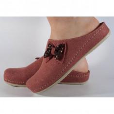 Papuci de casa MUBB roz inchis din lana cu talpic piele naturala (cod 477.1)