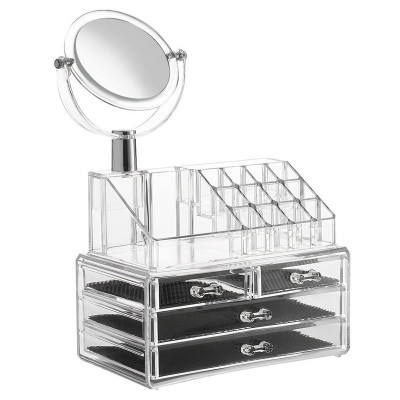 Organizator cosmetice cu oglinda, 4 sertare foto
