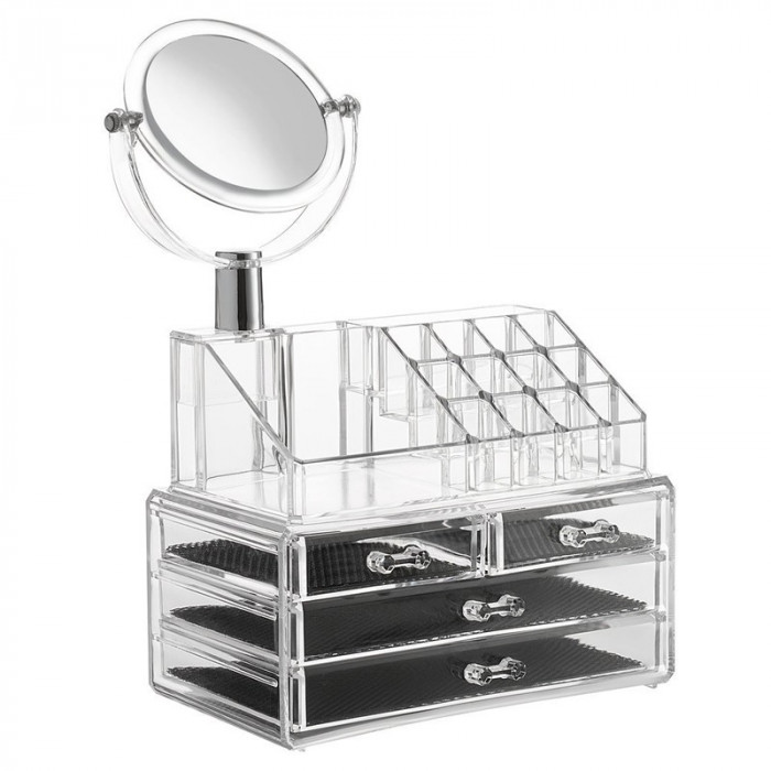 Organizator cosmetice cu oglinda, 4 sertare