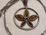 MEDALION argint MARIJUANA cu CHIHLIMBAR vintage SPLENDID de efect pe Lant argint
