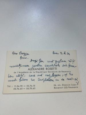 Carte de vizită semnată olograf de Al. Rosetti cu dedicație pentru Geo Bogza foto