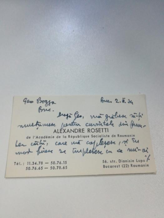 Carte de vizită semnată olograf de Al. Rosetti cu dedicație pentru Geo Bogza