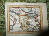 Harta miniaturala a Balcanilor, tiparita in 1692